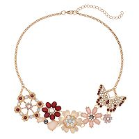 Pink Butterfly & Flower Statement Necklace