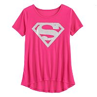 Girls 7-16 DC Comics Superman Logo Glitter Graphic Tee
