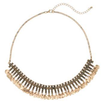 Antiqued Disc Fringe Necklace