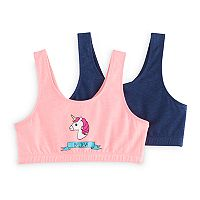 Girls 7-16 SO® 2-pk. Unicorn Graphic Sport Bras