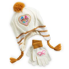 Girls 4-16 Shimmer & Shine Fleece-Lined Knit Hat & Gloves Set
