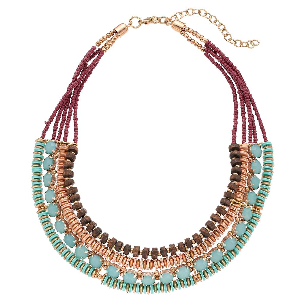 Wooden & Seed Bead Multi Strand Necklace