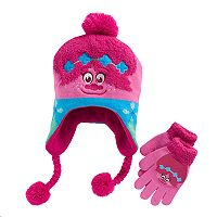 DreamWorks Trolls Poppy Girls 4-16 Plush Tassel Hat & Gloves Set