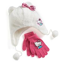 Girls 4-16 Hello Kitty® Faux-Fur Plush 3D Hat & Gloves Set