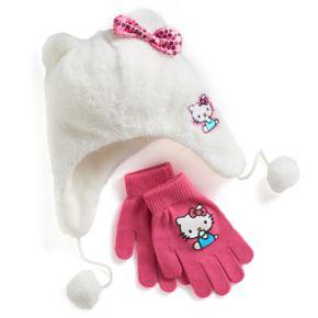 Girls 4-16 Hello Kitty® Faux-Fur Plush 3D Hat & Gloves Set