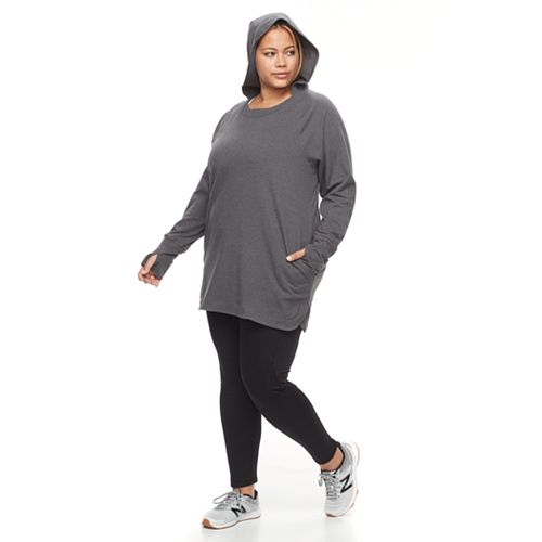 Plus Size Tek Gear® Hooded Long Sleeve Tunic
