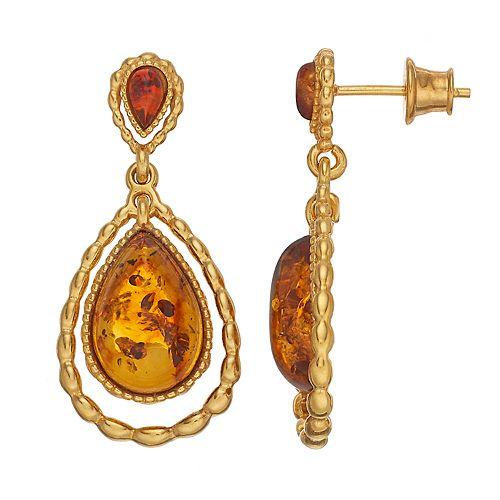 18k Gold Over Silver Amber Teardrop Earrings