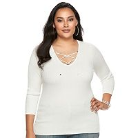Plus Size Jennifer Lopez Ribbed Crisscross Tee