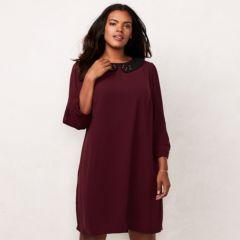 Plus Size LC Lauren Conrad Embellished Collar Shift Dress