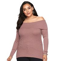 Plus Size Jennifer Lopez Off-the-Shoulder Ribbed Top