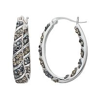 Confetti Crystal Inside-Out Oval Hoop Earrings