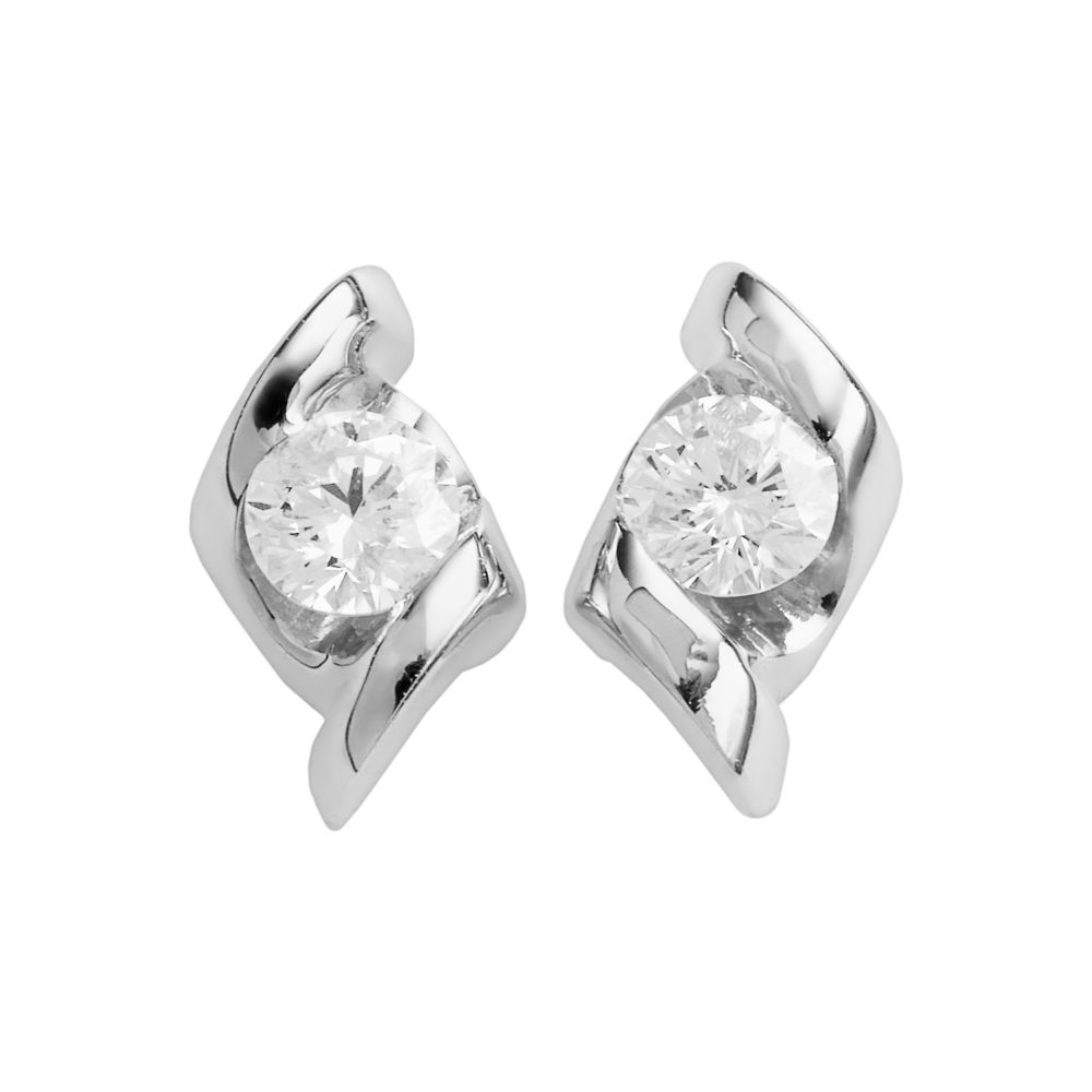 collection 14k white gold 1 4 ct t w diamond stud earrings