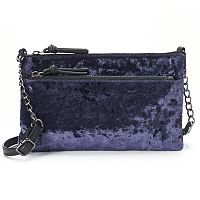 Mudd® Crushed Velvet Double Entry Crossbody Bag