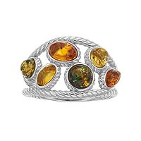 Sterling Silver Amber Cable Textured Ring