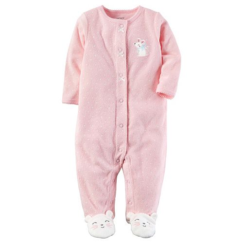 Baby Girl Carter's Dotted Terry Sleep & Play