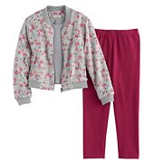 Toddler Girl Marmellata Classics Floral Bomber, Tank & Leggings Set