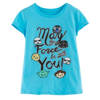 "Girls 7-16 Star Wars ""May the Force be with You"" Glitter Graphic Tee"