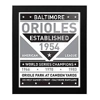 Baltimore Orioles Black & White Framed Wall Art