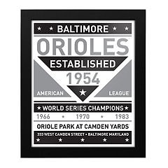 Baltimore Orioles Black & White Framed Wall Art
