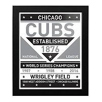 Chicago Cubs Black & White Framed Wall Art