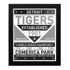 Detroit Tigers Black & White Framed Wall Art