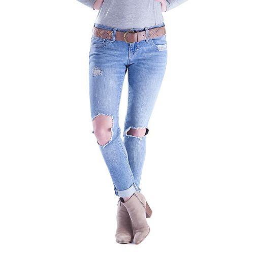 Juniors' Amethyst Ripped Girlfriend Skinny Jeans