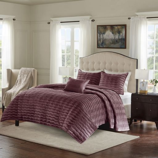 Bombay 4-piece Chandler Charmeuse Pleated Coverlet Set