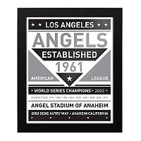 Los Angeles Angels of Anaheim Black & White Framed Wall Art