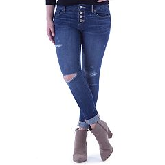 Juniors' Amethyst Ripped Button Front Girlfriend Skinny Jeans