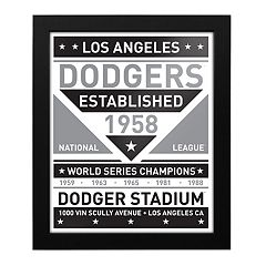 Los Angeles Dodgers Black & White Framed Wall Art