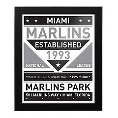 Miami Marlins Black & White Framed Wall Art