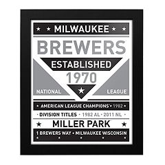 Milwaukee Brewers Black & White Framed Wall Art