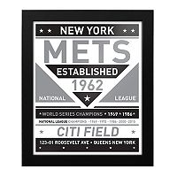 New York Mets Black & White Framed Wall Art