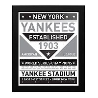 New York Yankees Black & White Framed Wall Art