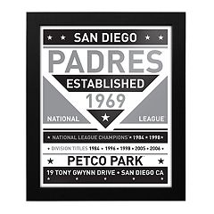 San Diego Padres Black & White Framed Wall Art