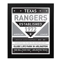 Texas Rangers Black & White Framed Wall Art