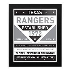 Texas Rangers Black & White Framed Wall Art