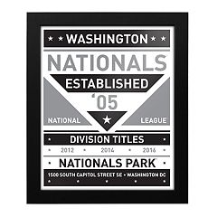 Washington Nationals Black & White Framed Wall Art