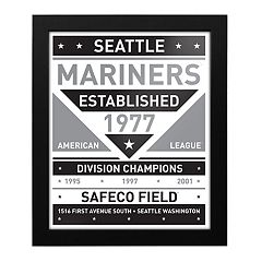 Seattle Mariners Black & White Framed Wall Art