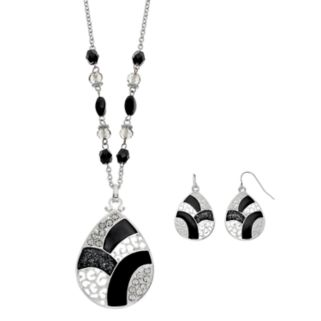 Long Black Colorblock Teardrop Pendant Necklace & Earring Set