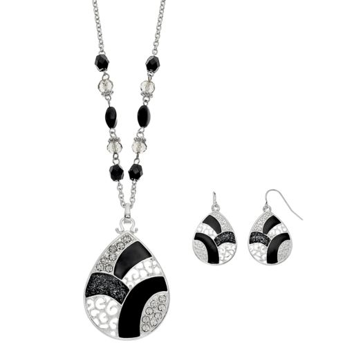 Long Black Colorblock Teardrop Pendant Necklace & Earring Set