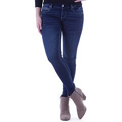 Juniors' Amethyst Faded Medium Wash Skinny Jeans