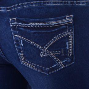 Juniors' Amethyst Faded Medium Wash Skinny Jeans