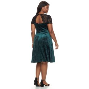 Plus Size Chaya Lace Illusion Velvet Dress