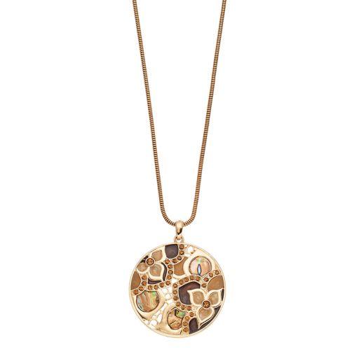 Long Mosaic Flower Circle Pendant Necklace