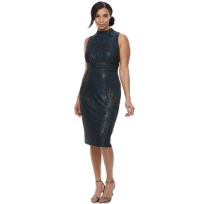 Plus Size Chaya Foiled Mockneck Sheath Dress