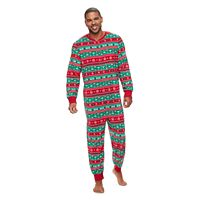 Men's Jammies For Your Families Cheers Fairisle One-Piece Fleece Pajamas