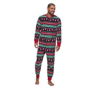 Men's Jammies For Your Families Snowman Fairisle One-Piece Fleece Pajamas