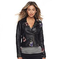Juniors' Candie's® Floral Faux-Leather Moto Jacket