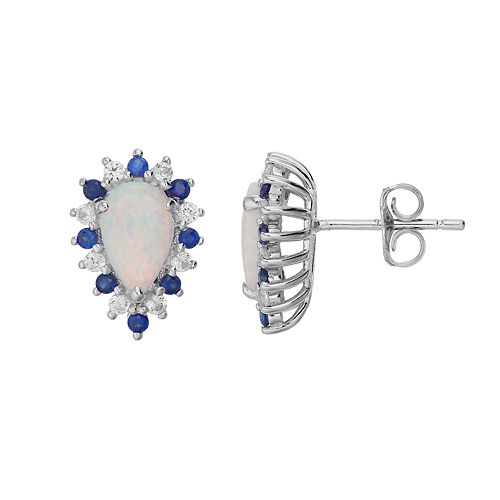 Sterling Silver Lab-Created Opal & Lab-Created Sapphire Teardrop Earrings